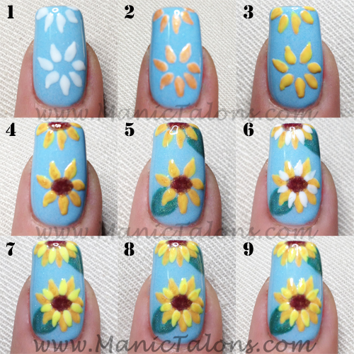 Gel Polish Sunflower Manicure Tutorial