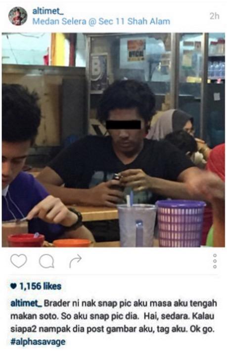 Altimet tak selesa foto dirakam ketika sedang makan
