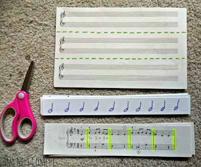 Music themed cutting tray for fine motor development from And Next Comes L