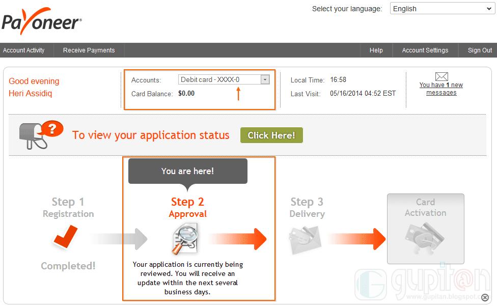 Cara Membuat Kartu Kredit MasterCard dari Payoneer 5