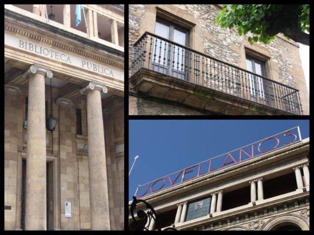 Biblioteca Pública Jovellanos, balcón del Museo Casa Natal de Jovellanos y Teatro Jovellanos en Gijon