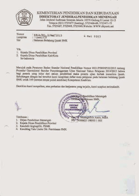 Format Halaman Belakang Ijazah SMK Tahun 2014/2015