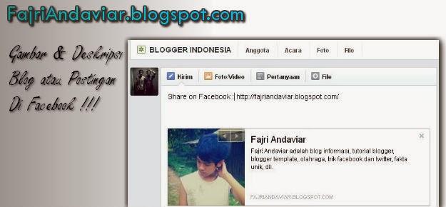 Mengatasi Gambar dan Deskripsi Posting/Blog di Facebook