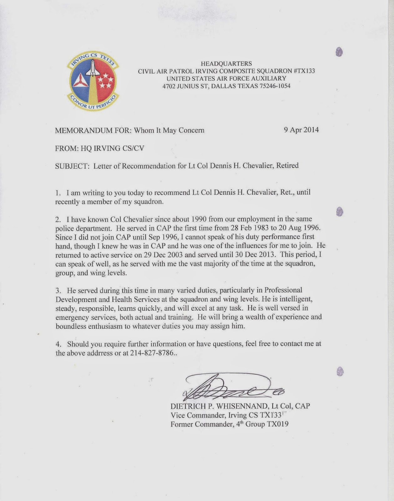 Perfect Civil Air Patrol Letter Of Recommendation