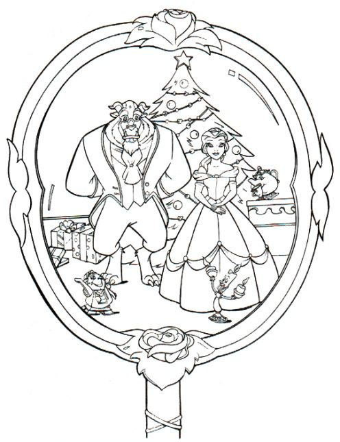 It 39 s christmas at the beauty and the beast 39 s castle here for Miroir coloriage