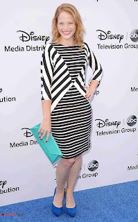 Katie Leclerc Pictures in Print Dress at Disney Media Networks International Upfronts 0005