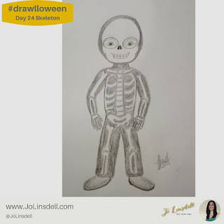 #Drawlloween Day 24 skeleton #Drawing #challenge