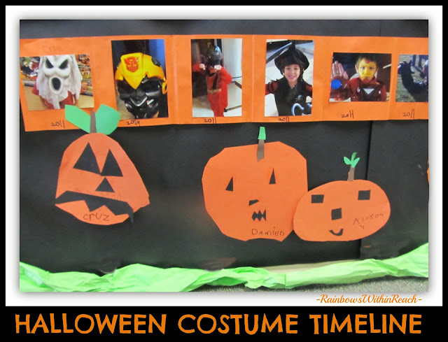 Halloween Bulletin Board using Costume Timelines and Student Jack-o-Lanterns via RainbowsWithinReach