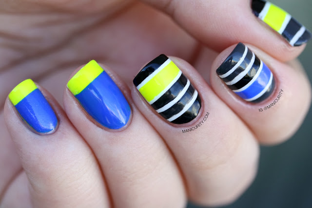 Manicurity | Neon Tape Stripes Mish-Mash Nail Art inspired by Work Play Polish