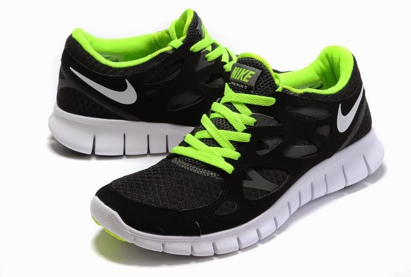 2012 Nike Free Run  2 Men Shoes Black Green White