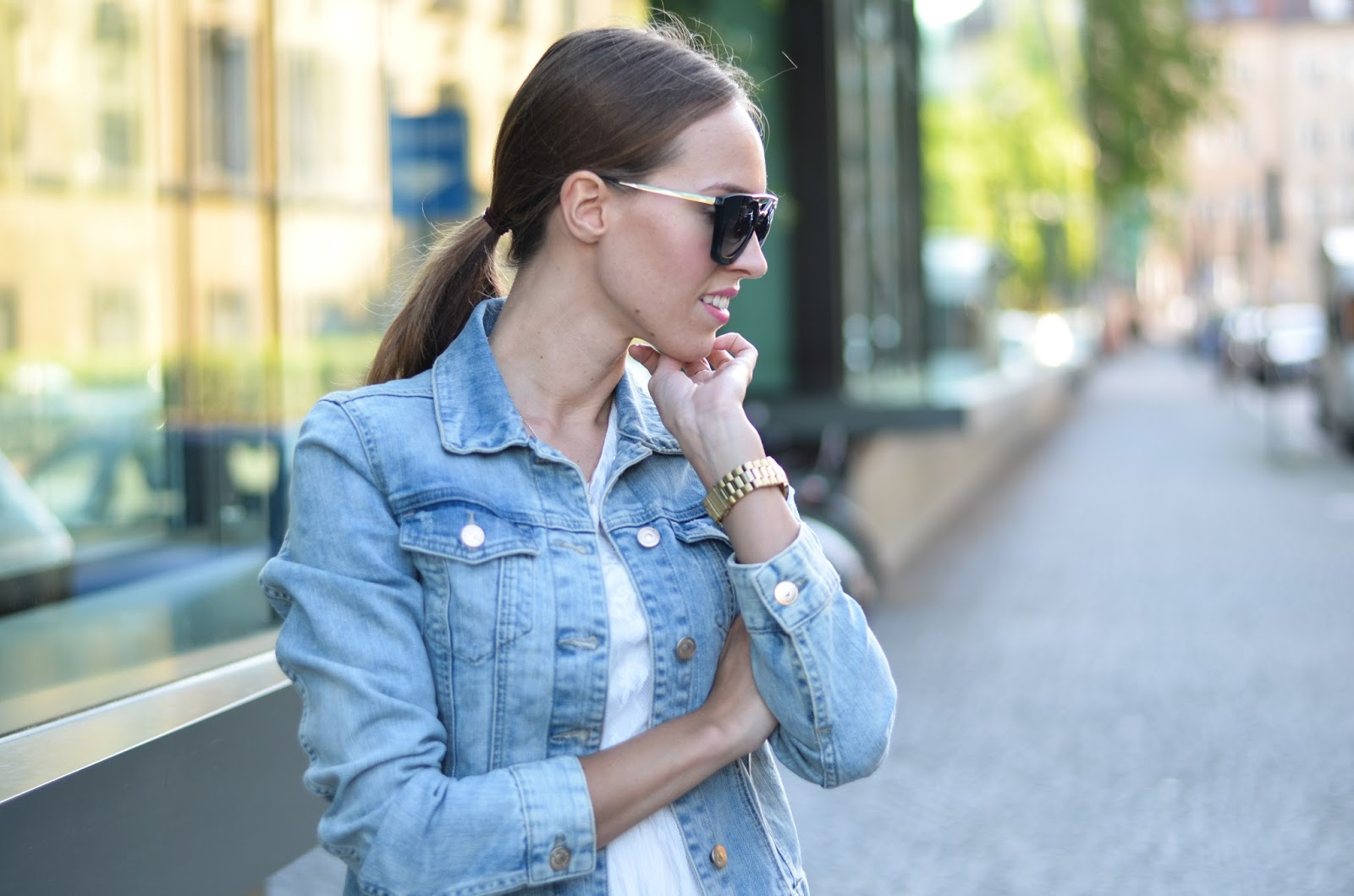 kristjaana mere prada sunglasses hm denim jacket street style