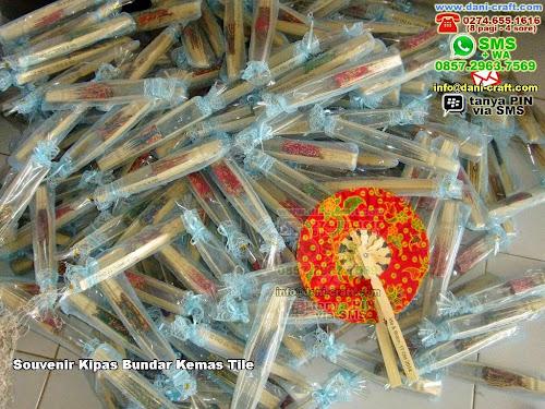 Souvenir Kipas Bundar Kemas Tile BambuBatik Lombok