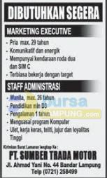 Lowongan Kerja PT Sumber Trada Motor, Rabu 24 September 2014