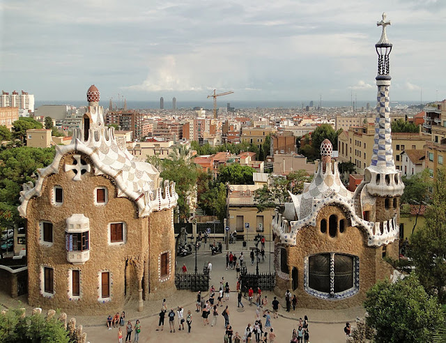 Park Guell by Antoni Gaudi in Barcelona (Gracia), Catalonia