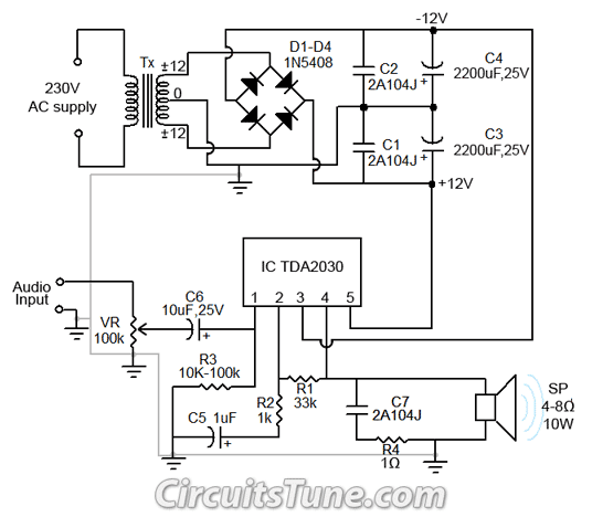 10w Audio Amplifier Circuit By Tda2030 Wiring Diagram Guide