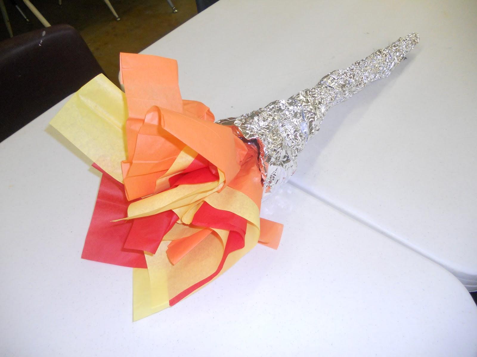 Олимпийский факел из бумаги своими руками