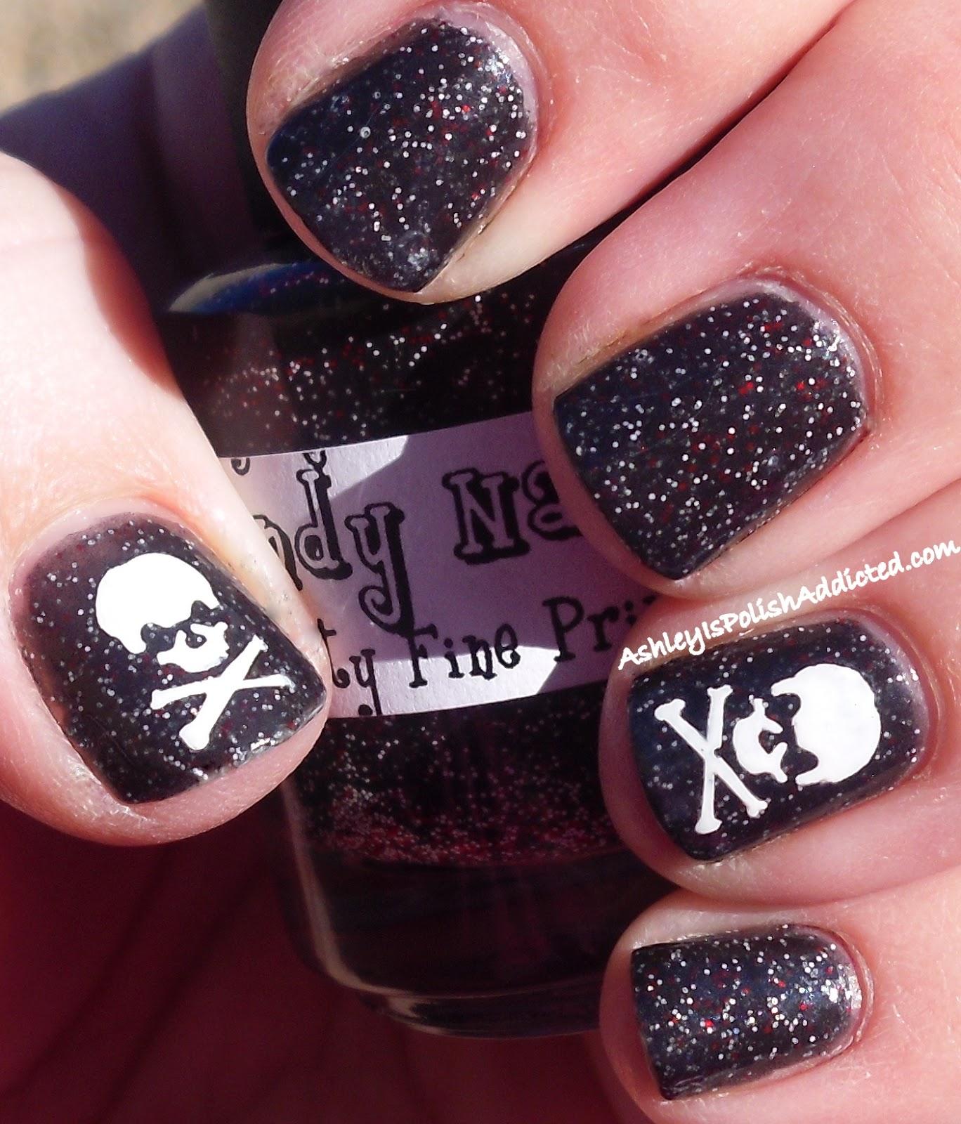Ashley is PolishAddicted: Skull Mani Using Revlon Nail Art Stencils