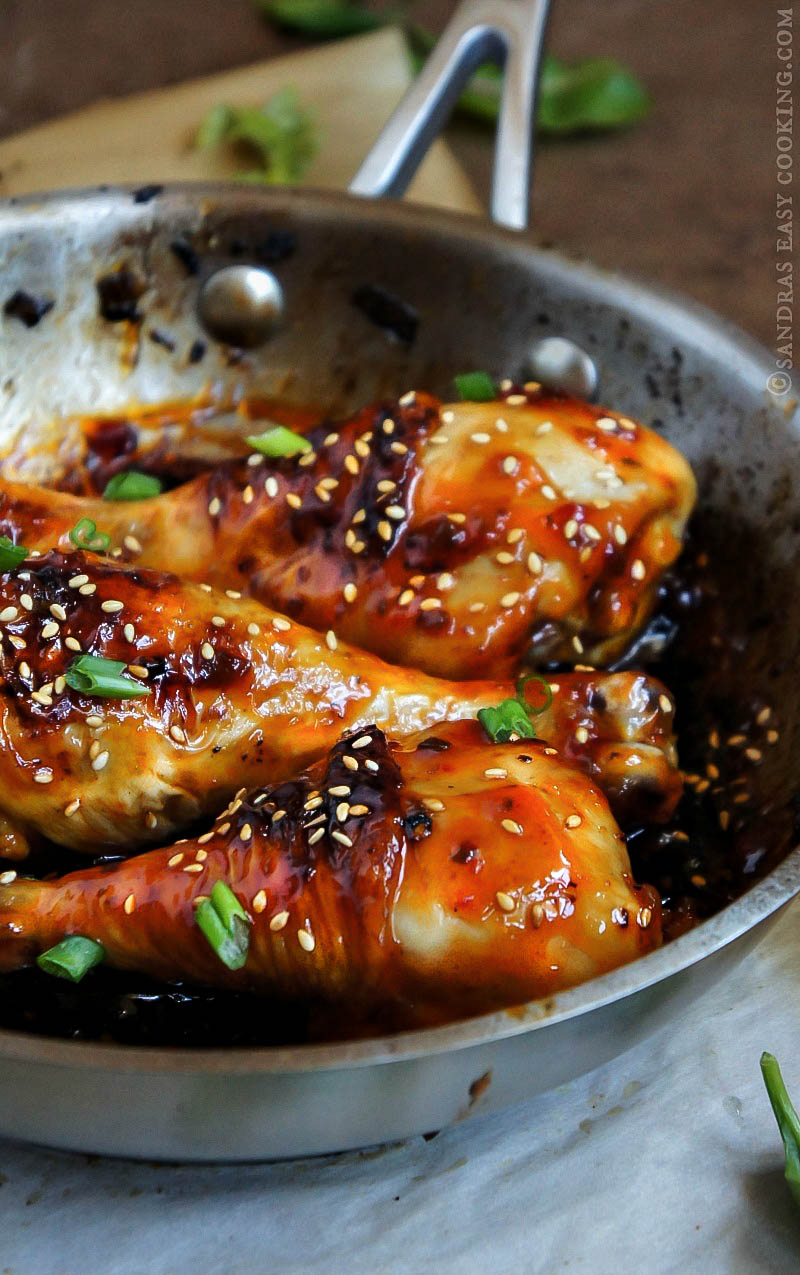 Spicy Sticky Baked Glazed Chicken Drumsticks
