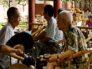 Oldermen in China having a cup a tea