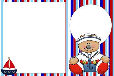 Moldura Convite E Cart  O Urso Marinheiro Azul E Vermelho