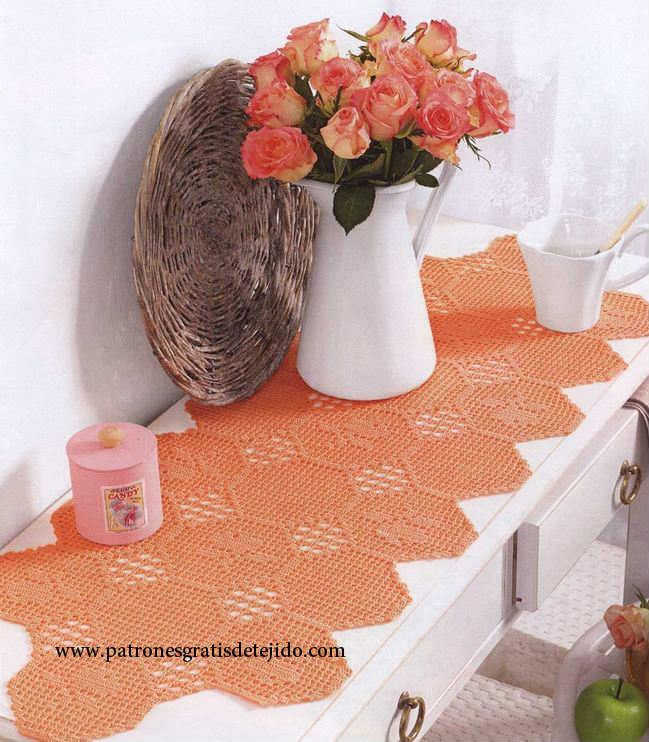 Patrones ganchillo de camino de mesa con motivos hexagonales