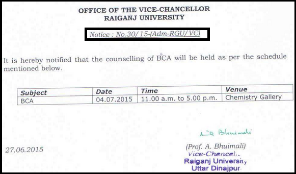 Raiganj College University UG Hons/General 1st Year Online Admission 2015 Merit List, Counseling Schedule