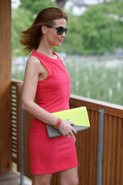Zara coral dress, summer coral dress, Fashion and Cookies, clutch Melissa