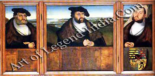 Cranach spent almost fifty years serving the Electors of Saxony. Here he uses the triptych for normally reserved for religious subjects to enshrine the memories of all three Electors in a single composition set against a background of Saxony's landscape.