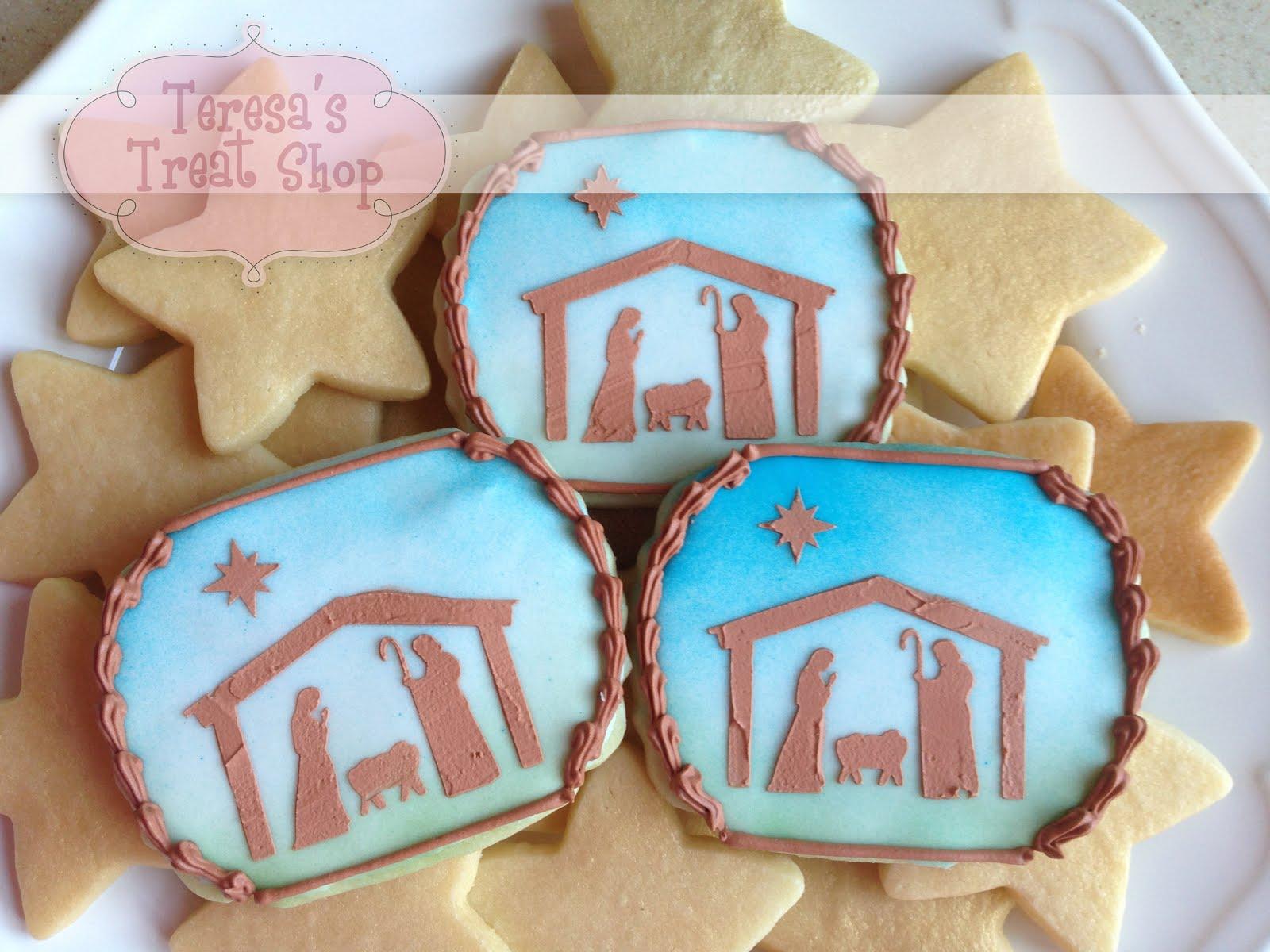 Teresa S Treat Shop Stenciled Nativity Cookies