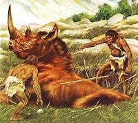 Homem primitivo caçando