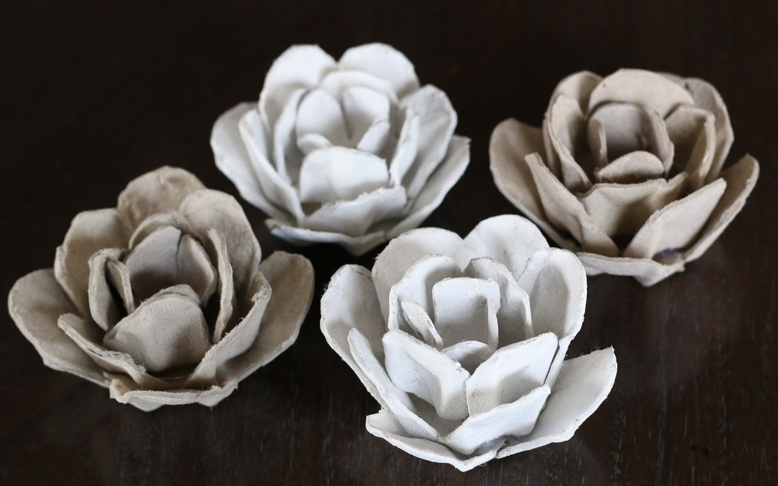 upcycle papier mache roses from an egg carton. Black Bedroom Furniture Sets. Home Design Ideas