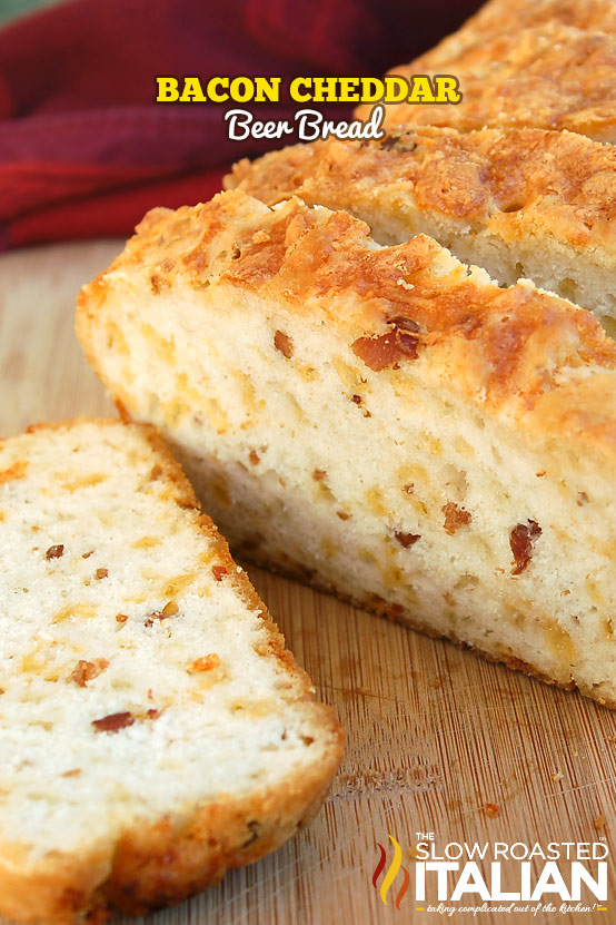 Bacon Cheddar Beer Bread is a simple recipe that is mixed with a spoon ...