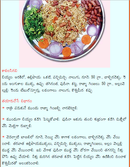 Healthy food recipes rajma pudina rice recipe in telugu rajma pudina rice recipe in telugu forumfinder