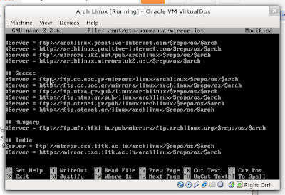 uncommnenting mirror arch linux