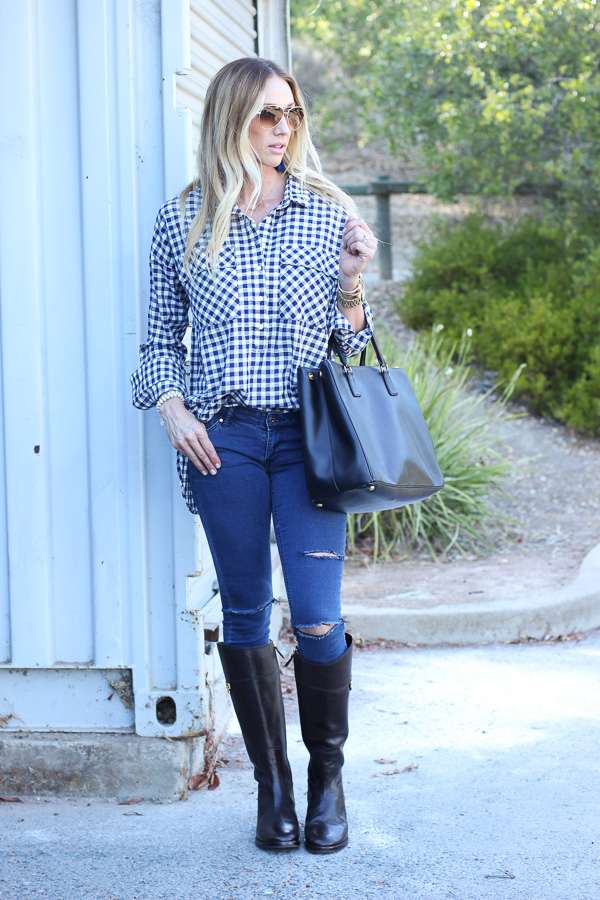 gingham tunic top