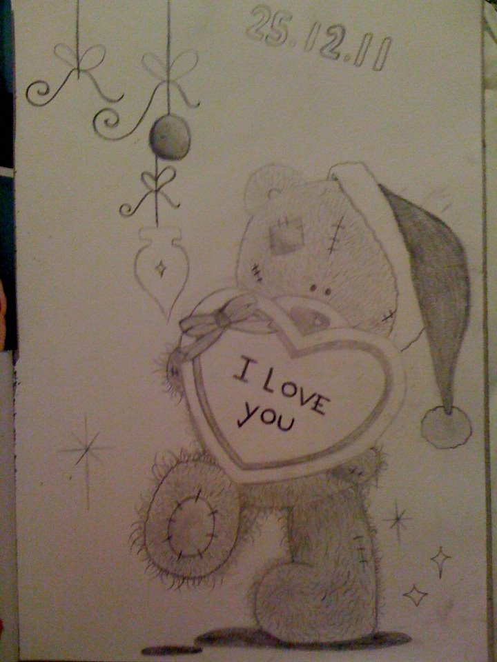 christmas me too you bear pencil drawing