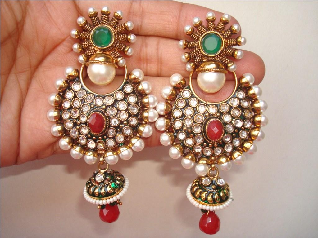 Jhumka jhumki jewellery india for Earring design ideas