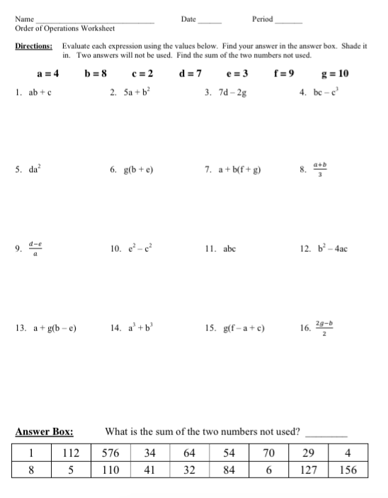 Ms Lees Math Class January 2016 – Evaluate the Expression Worksheet