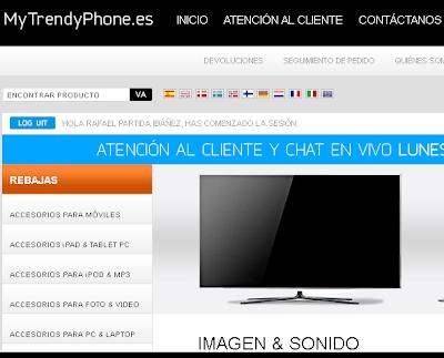 Captura de la sección Imagen y Sonido de la tienda online MyTrendyPhone