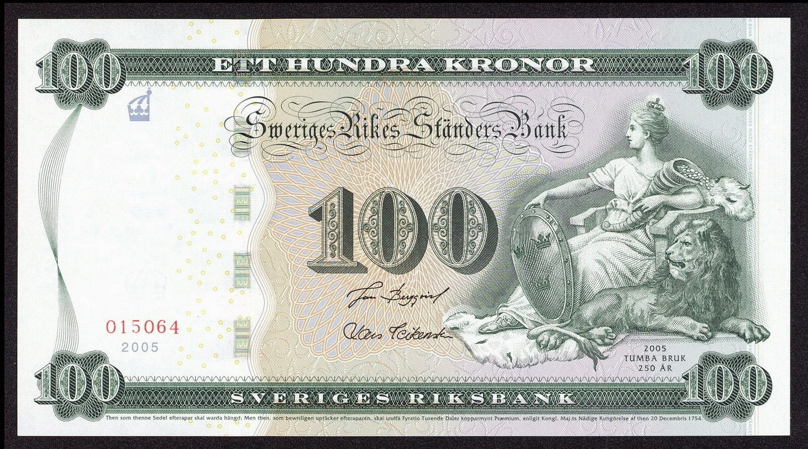 100 Swedish Krona commemorative banknote 250th anniversary ...