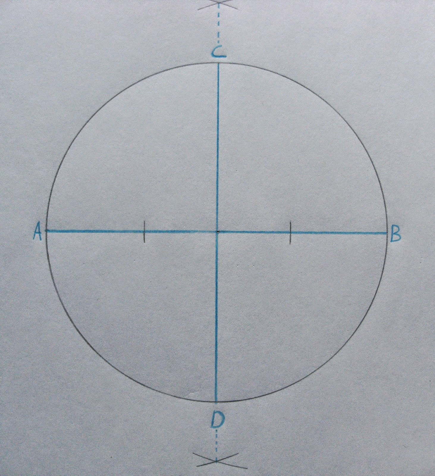 Drawing Parallel Lines With Set Squares : To inscribe an octagon in a circle