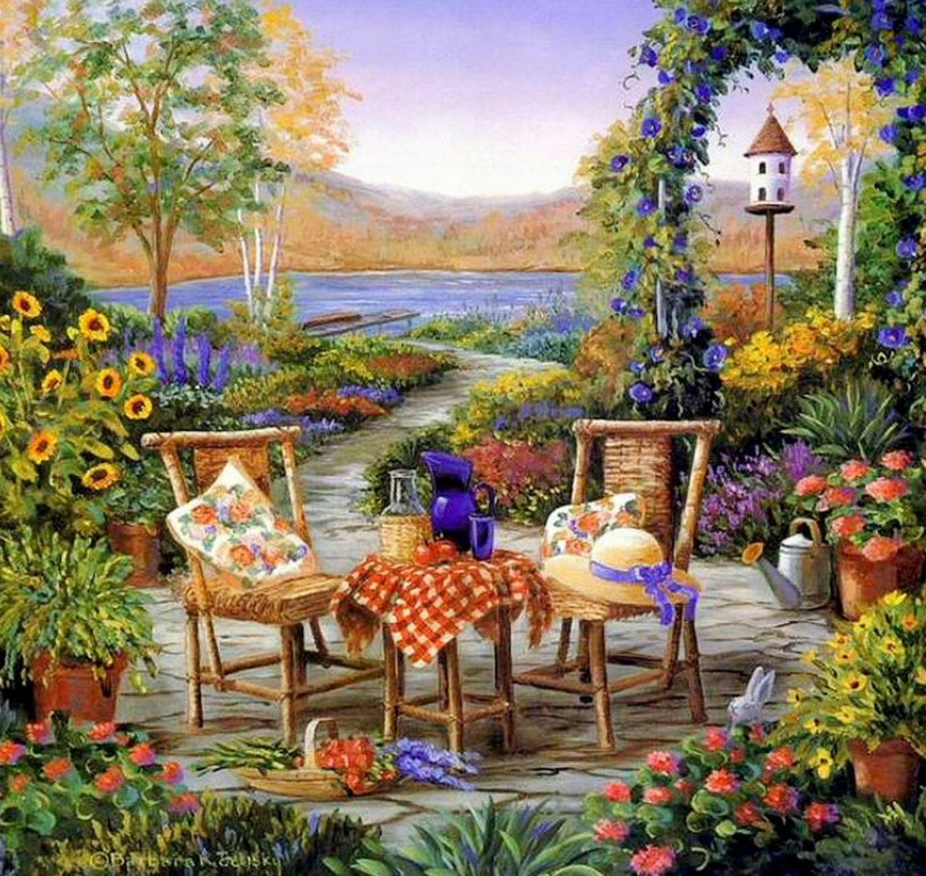Cuadros modernos pinturas y dibujos cuadros de casas con - Paisajes de casas ...