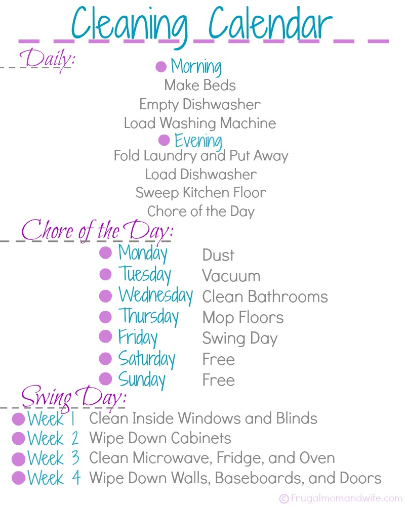 photo about Printable Cleaning Schedule for Working Moms known as Frugal Mother and Spouse: Cost-free Printable Cleansing Calendar!