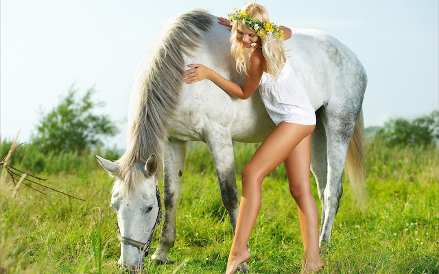 white_horse_with_sexy_girl_wallpaper_hd
