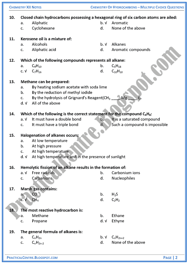chemistry-of-hydrocarbons-mcqs-chemistry-12th
