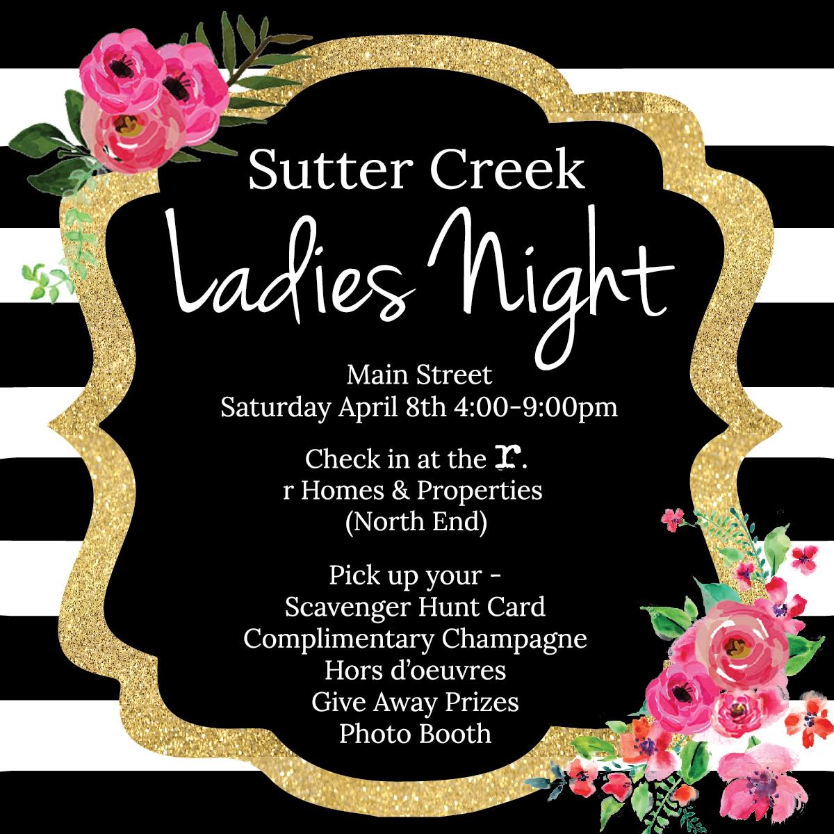 Sutter Creek Ladies Night - Sat Apr 8