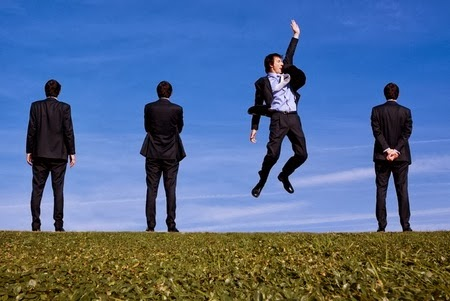 Picture of a Businessman jumping  because he spots an opportunity others miss.