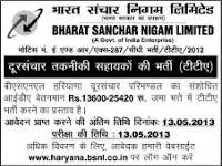 BSNL TTA Recruitment 2013 haryana notification advertiement