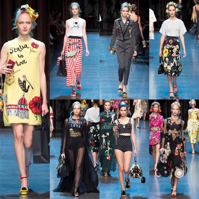 """Lo stile, la classe e l'unicità italiana sono caratteristiche che questi due stilisti riescono sempre ad esaltare. Come sempre, il tema centrale di Dolce e Gabbana è la bellezza italiana, che viene esaltata perfettamente in tutte le sue forme. I vestiti sono sfarzosi, in stile barocco, con dettagli curati, precisi e colori accesi per una primavera/estate all'insegna dell'allegria. Su alcuni capi sono ricamate le scritte """" Portofino"""", """"Pisa"""", """"Italia"""", evidenziando così la bellezza italiana in tutti i sensi. Hanno presentato anche caftani in seta, che cadevano morbidi sui corpi delle modelle, e hanno giocato con trasparenze, ricami e applicazioni. La nota floreale dei capi rende l'intera collezione perfetta per la prossima stagione."""