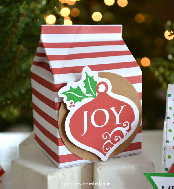 Milk carton Christmas treat containers